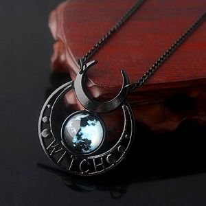 Glow In Dark Witch Black Moon & Earth Necklace